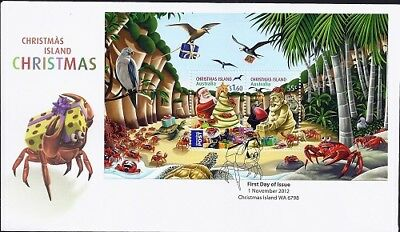 2012 Christmas Island - Christmas Mini Sheet FDC FDI