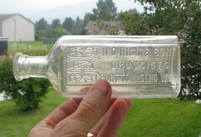 LARGE SIZE! old 8 oz PORT TOWNSEND, WA / N D HILL & SONS drug medicine bottle
