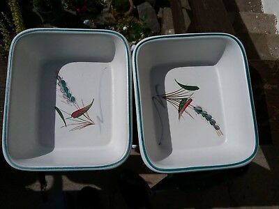 2 Denby green Wheat Stoneware oblong Dishes