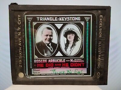 Silent Movie Ad Glass Slide Roscoe Arbuckle In He Did & Her Didn't NO Reserve