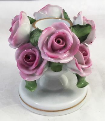 Herend Pink Roses Low Candle Holder w/ 8 Roses #7922 Charming! - N/R