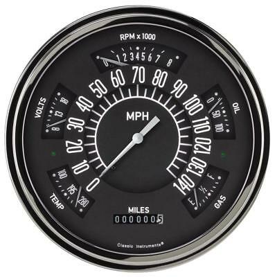 Classic Instruments Six Pack Gauge, 1949-50 Chevy, Black