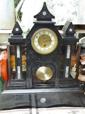 huge heavy gothic victorian slate/marble clock 8 day movement oiled working old