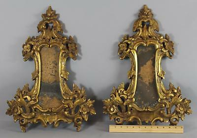 Pr Antique 17th/18thC Hand Carved & Gold Gilt Rocco Candle Sconce Mirrors Frames