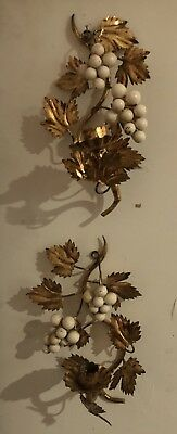 Pair of Antique/Vintage Metal Leaves &Grape Candle Holder Sconces Beautiful