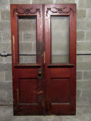 ~ ANTIQUE CARVED OAK DOUBLE ENTRANCE FRENCH DOORS ~ 48 x 84 ~ SALVAGE