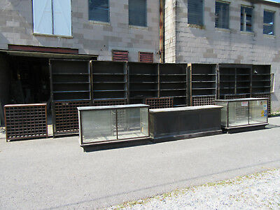 ~ 30 Feet Antique Oak General Store Cabinets With Counter And Display Cases ~
