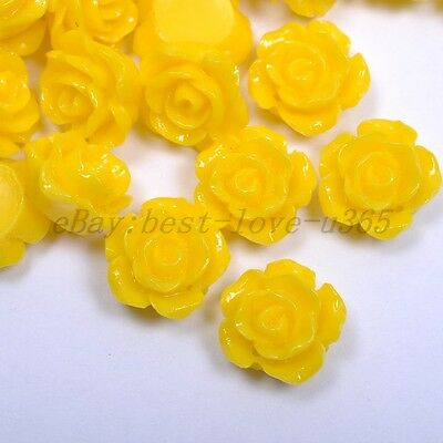 20pcs Yellow Gorgeous Rose Flower Coral Resin Spacer Beads 12MM