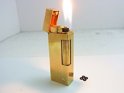 DUNHILL Rollagas Lighter d Mark Gold Gas leaks W/4p O-rings Auth Swiss (k