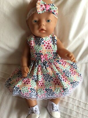 """Doll Clothes to fit 17"""" Baby Born doll ~ Dress & hband  ~ Small Bright Flowers"""