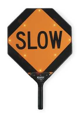 BlinkerPaddle® LED Sign,Stop/Slow,Red/Orange TAPCO 2180-00322