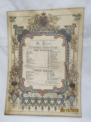 1849 QUEEN VICTORIA ROYAL ENTERTAINMENT by COMMAND PLAY BILL WINDSOR CASTLE