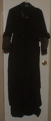 "Antique 1800S Victorian Black Satin/moire Crepe & Lace Mourning Dress ""as Is"""
