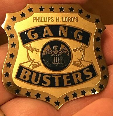 vintage 1930's Premium Pinback Pin Badge-Gang Busters-Phillips H Lord's