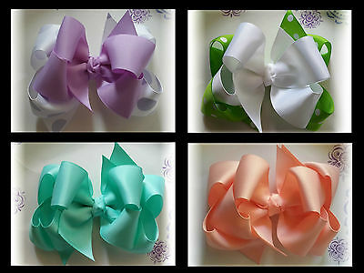 6 Double layer Boutique Hair bows 4 inch You choose any colors listed Great Dea