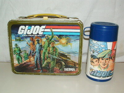 1982 THERMOS brand TIN-LITHO G.I. JOE LUNCHBOX and THERMOS BOTTLE