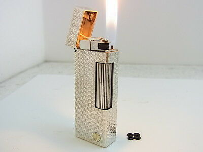 DUNHILL Rollagas Lighter d Mark Silver Gas leaks W/4p O-rings Auth Swiss (b