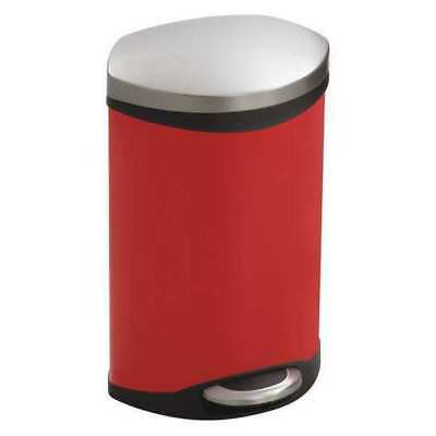 3 gal. Rigid Plastic Oval Wastebasket, Flat Step-On Top, Red SAFCO 9901RD