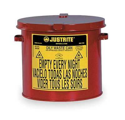 Countertop Oily Waste Can,2 Gal.,Red JUSTRITE 09200