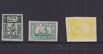 AUST 1952 1d,3d,6d  MONTE BELLO ISLANDS -Revenue/Local/Cinderella-imperf-MUH (3)