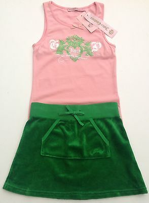 NWT Juicy Couture New Genuine Green Velour Skirt & Pink T.Shirt Set Girls Age 8
