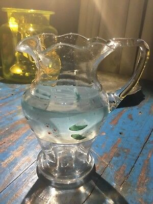 Antique vintage ripple neck hand painted glass jug 16.5 tall collectable