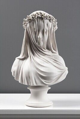 Veiled Lady Bust Statue / Maiden Marble Sculpture - Made in Europe (14.5in/37cm)