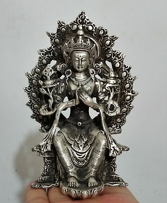 Collectible Old Decorated Prayer lucky  Handwork Miao Silver Guanyin Statues