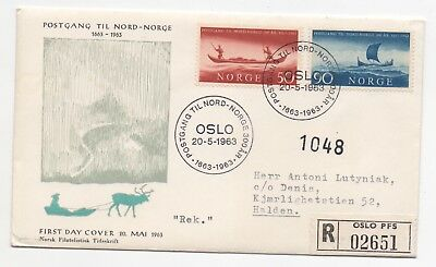 1963 NORWAY Registered First Day Cover MAIL TO THE NORTH SG551/2 Oslo to Halden