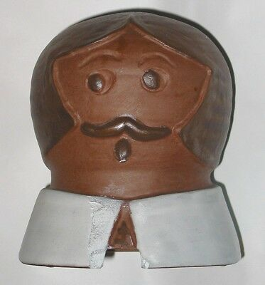 Vintage Primitive Amish Pilgrim Cookie Jar Lid ONLY Glazed Unglazed Clay Pottery