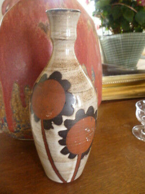 Vintage Briglin Studio Art Pottery Sunflowers Design Jug Stem Vase