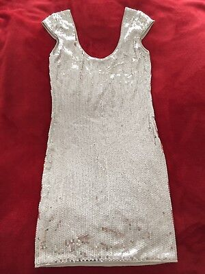 Brand New Armani Exchange Silver Sequinned Lined Cocktail Dress with Tags