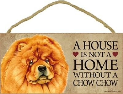 CHOW A House Is Not A Home DOG wood SIGN wall hanging PLAQUE red puppy USA MADE