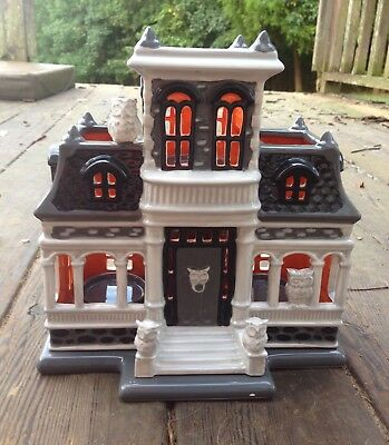 CHIPPED Bath Body Works Haunted House Luminary mini candle holder Halloween