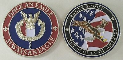 Once an Eagle Always an EAGLE SCOUT CHALLENGE COIN BSA Boy Scout Large Heavy