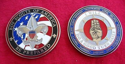 SCOUT SIGN Challenge Coin Law Motto Oath Boy Scout Medallion Heavy Cub Scout BSA