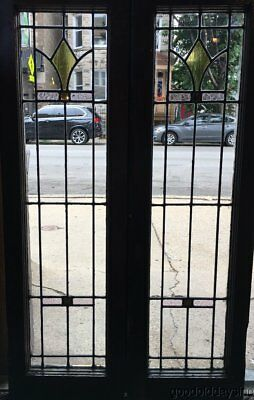 "Antique Stained Leaded Glass Doors / Windows 43"" by 13"""