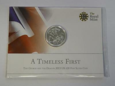 2013 Royal Mint Uk George & Dragon Fine Silver £20 Coin In Orig Sealed Packaging