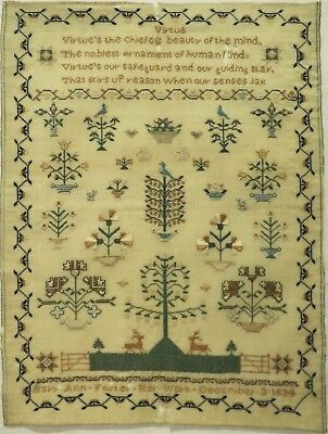 """Early 19Th Century Motif & """"virtue"""" Verse Sampler By Mary Ann Foster - 1834"""