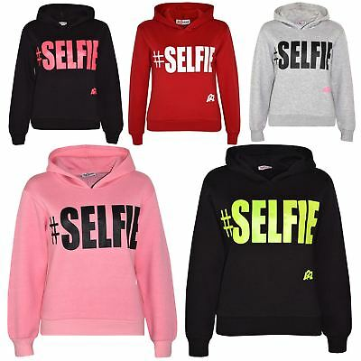 Kids Girls Boys Sweat Shirts Tops #Selfie Hooded Jumpers Hoodies New Age 2-13 Yr