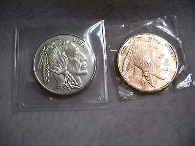 One  Troy Oz .999 Silver  Coin &  One - 1- Oz  Copper  Coin