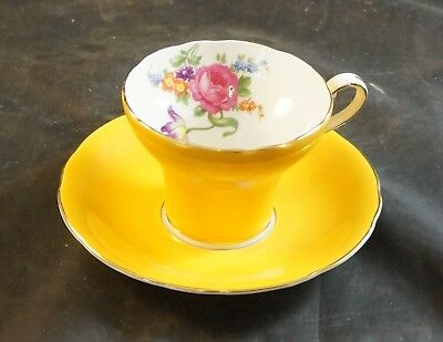 AYNSLEY  Fine Bone China Cup and Saucer Yellow with Flowers in the Bowl