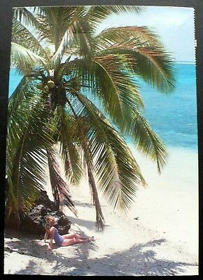 1990 Solitary Blonde Lady Relaxing on a beautiful Fiji Beach, Fijan Stamps
