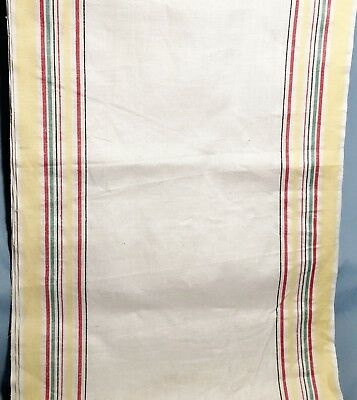 Linen Kitchen Tea Towel Fabric ~ 6 yards Material  Yellow Red Green Black Stripe