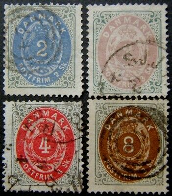 Denmark 1870 - 1874 used selection 2sk - 48sk. A few OK -- most not! (17 stamps)