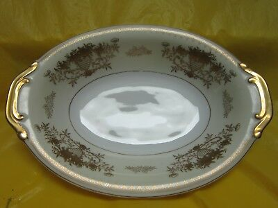 Black Towers China Windsor Oval Deep Serving Bowl Dish Gold Trim Made In Japan