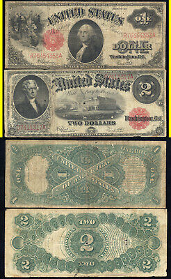 1917 $1.00 And 1917 $2.00 United States Notes- Scarce- No Reserve
