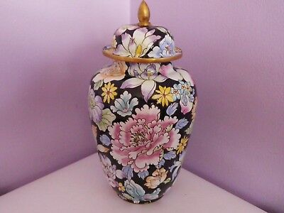 Fab Chinese Brass Enameled Many Flowers Des Temple Ginger Jar/vase 21 Cms Tall