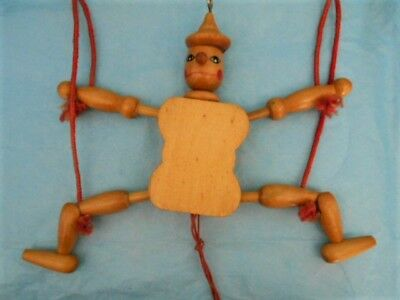 Vintage Wood Jumping Jack Clown Pull String Ornament