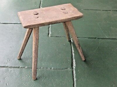 "ANTIQUE 19th CENTURY.HAND HEWN WOODEN 4-LEG ""PEGGED"" BENCH STYLE MILKING STOOL"